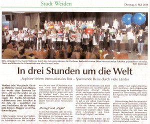 Zeitungsartikel über das Internationale Fest 2014